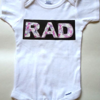Rad baby Onesuit for newborn and baby girls, 0-3 months, 6-9 months, 12 months, 18 months