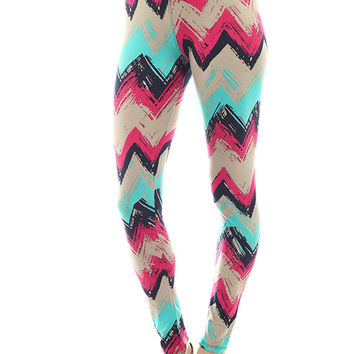 Women's Regular Chevron Inspired Pattern Print Leggings - Sky Fuchsia Black