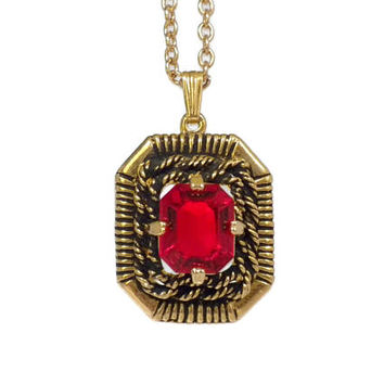 Ruby Red Rhinestone Necklace - Red Pendant, Red Necklace, Rhinestone Pendant, Square Pendant, Rope Pendant, Vintage Necklace, Sarah Cov