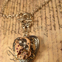 Neo Victorian Vintage Watch Movement Steampunk Heart LOCKET Necklace - Great VALENTINES DAY Gift (1613)