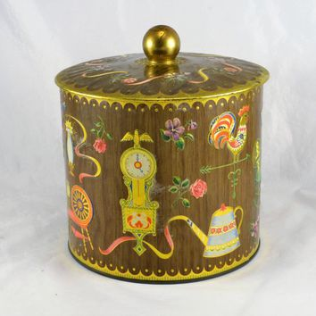 Biscuit Cookie Tin Canister Vintage Made in England Americana Country Decor Rooster Clock Spinning Wheel Teapot Musket Floral Design