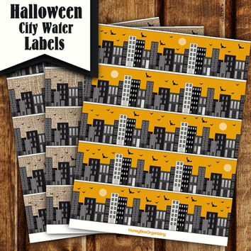 DIY Halloween Big City Water Labels - Burlap Wellow Napkin Rings - Printable Halloween Water Bottle Wrappers - Halloween Water Bottle Labels