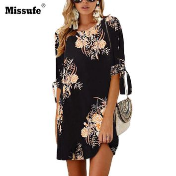 Missufe Bow Tie Three Quarter Sleeve Floral Print Mini Tunic 2018 Sexy Vestidos De Fiesta Party Dresses Women Summer Beach Dress