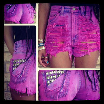 Pink Purple studded pocket vintage custom high waist frayed dyed distressed shorts