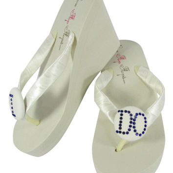 Cobalt Blue I DO Rhinestone Ivory Wedge Wedding Flip Flops