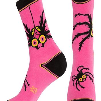 Spider Dress Crew Sock in Pink and Black
