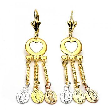 Gold Layered 059.006 Chandelier Earring, Guadalupe and Heart Design, Diamond Cutting Finish, Tri Tone