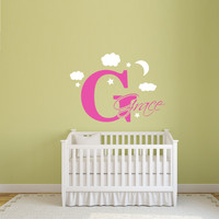 Personalized baby name nursery wall decal with clouds and moon