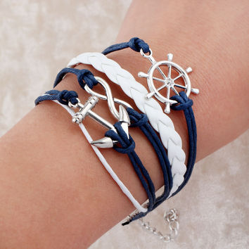 Handmade bracelet pulseras Wax Love Anchor Owl Hungry Games Leather bracelet Charm bracelets pulseira couro bracelets for women