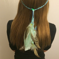 Feather Headband, Native American inspired, Tiffany Blue, Boho Headband, Bohemian Headband, Feather Hair, Hippie Headband