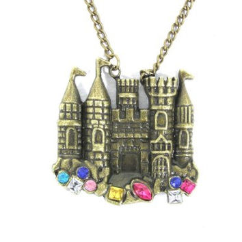 Fairy Tale Castle Necklace Crystal Palace 90s Pretty Princess NA17 Vintage Pendant