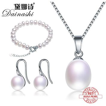 Dainashi affordable 925 silver pearls sets include pearl pendants/pearl earrings/pearl bracelets fine jewelry for women gifts