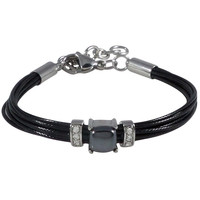 Stainless Steel Bracelet Black Wax Poly Cords Hematite and Clear Crystal Adjustable Clasp
