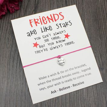 Custom-Friends are like stars-Card with Best Friends Charm bracelet  Adjustable Bracelets Friendship Gift Drop Shipping