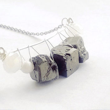 Pyrite (Fool's Gold) Cube Nugget Wire Crescent Necklace