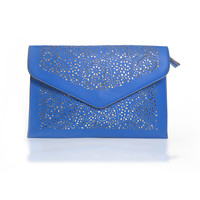 Forget Me Not Lasercut Envelope Clutch in Blue