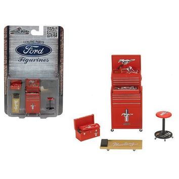 Ford Mustang 4 Pieces Garage Tools Set For 1/18 Scale Models by Motorhead Miniatures