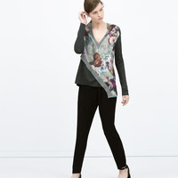 Combined printed asymmetrical shirt