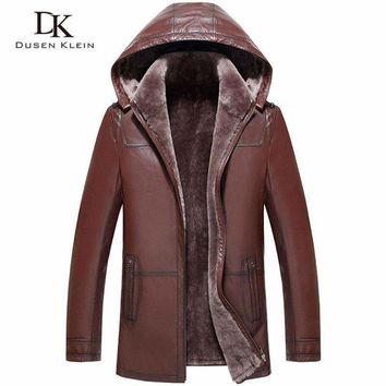 Wool Leather Hooded Shearling Jacket Mens Dusen Klein Genuine Sheepskin Wool Liner Mens Winter Coats 71A1803