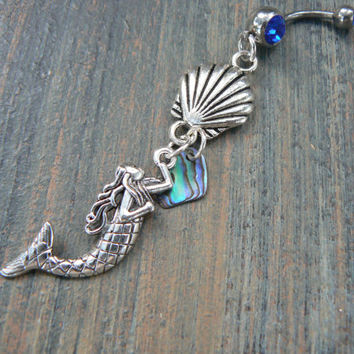 mermaid belly ring seashell belly ring siren belly ring nautical belly ring  beach belly ring  belly dancer gypsy hippie boho hipster style