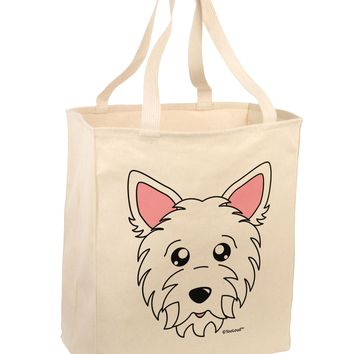 Cute West Highland White Terrier Westie Dog Large Grocery Tote Bag by TooLoud