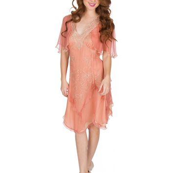 Nataya AL-241 Jacqueline Vintage Style Party Dress in Rose/Gold