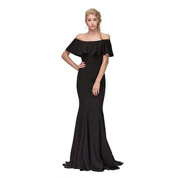 Black Off Shoulder Ruffled Bodice Mermaid Floor Length Prom Gown