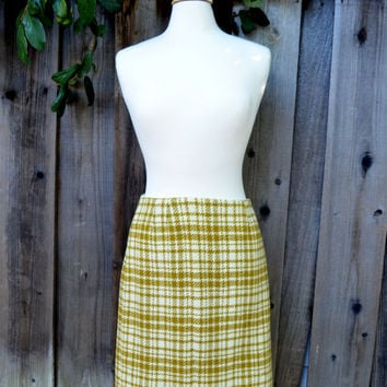 Vintage Pencil Skirt, Tami Original San Francisco, Mustard Yellow Plaid Skirt, Wool Blend, c 1960s-1970s