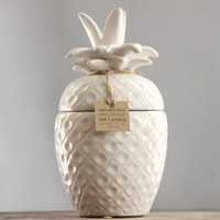 Ceramic Pineapple Soy Candle|Gourmet Tahitian Vanilla| Japanese Honeysuckle|Coconut Lime|Hand Poured