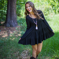 Crochet Back Dress in Black