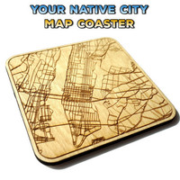 Manhattan New York City Map Coaster 1 Piece ~ More Cities Are Available ~ Ideal Gift Idea Fathers Day Engraved Gift for Him Gift for Her