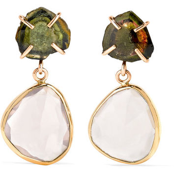 Melissa Joy Manning - 14-karat gold, tourmaline and quartz earrings