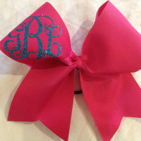 Simple Monogrammed cheer bow  by PalmettoPrincessShop on Etsy