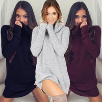 2017 Women Cowl Neck Loose Long Sleeve Oversize Sweater Turtleneck Casual Sweater