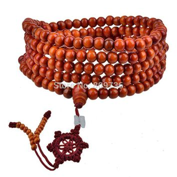 Hot Natural Sandalwood Buddhist Buddha Meditation 216 beads Wood Prayer Bead Mala Bracelet Necklace Women Men jewelry