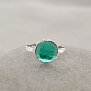 Teal Quartz Ring Faceted Round 10mm Wholesale Gemstone Ring 925 Sterling Silver Bezel Ring Jewelry - #1019