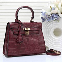 Hermes Women Fashion New Texture Leather Shoulder Bag Shopping Leisure Handbag