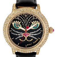 Betsey Johnson Women's Black Patent Leather Strap Watch 44mm BJ00278-21