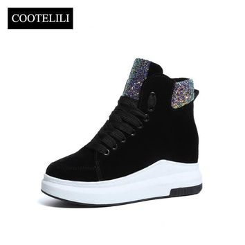 COOTELILI Women Ankle Boots Heels Lace up Warm Casual Shoes Woman Sneakers Platforms Faux Suede Plush Botas Mujer black 35-39