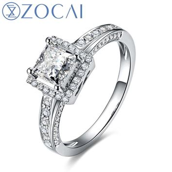 Zocai Women's Petite Cathedral 0.9 CT Natural  Princess Cut 18K White Gold Diamond Ring