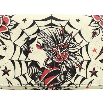 Liquor Brand Gypsy Queen Tattoo Art Bi-Fold clutch Wallet
