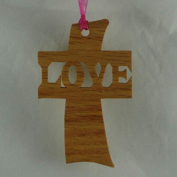 Love Cross Christmas Ornament Handmade From Oak or Walnut Wood