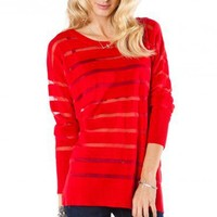 See Through Striped Sweater in Red - ShopSosie.com