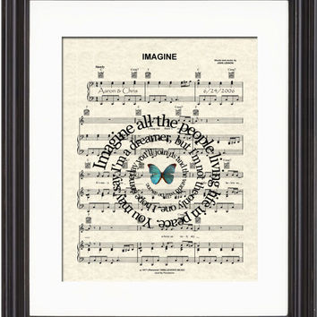Imagine Sheet Music Art Print, John Lennon's Imagine Art Print, Bealtes Art Print, Song Lyric Art Print, Spiral Words, Customized Art,  8x10