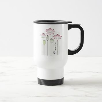 Pink Lotus Flower Elegant Chic Personalized Travel Mug