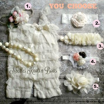 Baptism Set, Ivory Petti Lace Romper Set, Baby Girls Christening Set, YOU CHOOSE Set, Girls Ivory Lace Romper Set