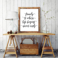 "Quote Print Inspirational Print Nursery Print Calligraphy Art Print Instant Download ""Family Is Where Life Begins And Love Never Ends"""