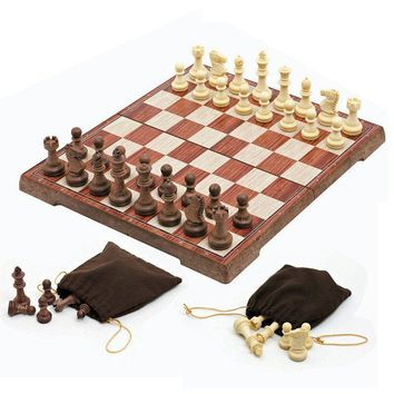 New Wooden WPC Folded Board magnetic Chess Puzzle Set