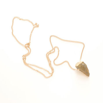 Raw Stone Necklace Gold Pendant Long Chain Jewelry