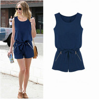 Dark Blue Bow Belted Double Zipper Chiffon Sleeveless Romper